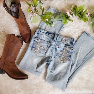 Miss Me Girls Fleur de Lis Embellished Jeans